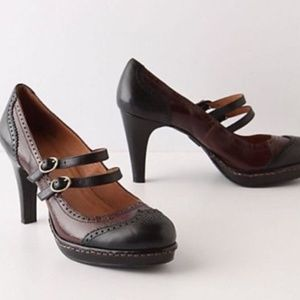 ANTHROPOLOGIE SCHULER & SONS Wingtip Heels 10